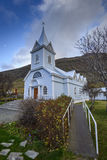 Blue Church in Seydisfjordur Royalty Free Stock Images