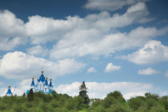 Blue church on sky background Royalty Free Stock Photo