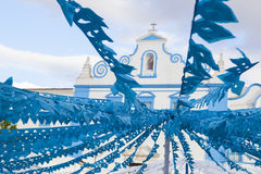 Blue church square, Campo Maior Festival, Portugal Royalty Free Stock Photos