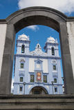 Blue church on Terceira island Stock Photo
