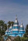 Blue church in a Ukrainian village Stock Photography