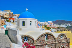 Blue churches of Oia in Santorini Stock Image