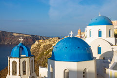 The blue churches of Oia Royalty Free Stock Images