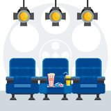 Blue cinema chairs poster. Auditorium and three blue comfortable armchairs in the cinema under spotlight. Drinks and popcorn, glasses for movie Flat vector Stock Photos