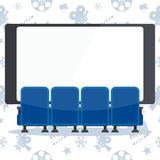 Blue cinema chairs and screen. Auditorium and four blue comfortable armchairs in the cinema. Drinks and popcorn, glasses for movie Flat vector cartoon Cinema Royalty Free Stock Images