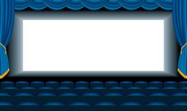 Blue cinema hall Royalty Free Stock Photography