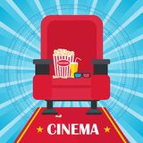 Blue cinema poster. Armchair, popcorn and 3d glasses. Template film poster for movie theater. Cinema concept. Flat vector cartoon illustration. Objects isolated Royalty Free Stock Images