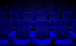 Blue Cinema Seats. Background of a 3d picture of blue cinema, theater seats Royalty Free Stock Photo