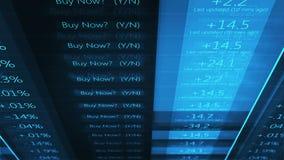 Blue cinematic stock market wall street ticker - V1. 1-19-19 royalty free illustration