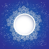 Blue circle background with snowflakes Stock Photography