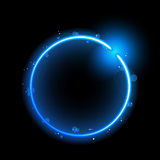 Blue Circle Border with Sparkles Stock Photography