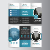 Blue circle business trifold Leaflet Brochure Flyer report template vector minimal flat design set, abstract three fold Royalty Free Stock Images