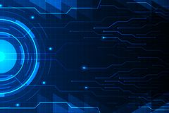 Blue circle and circuit line on abstract technology futuristic hud background vector design. Blue circle and circuit line on abstract technology futuristic hud Royalty Free Stock Photos