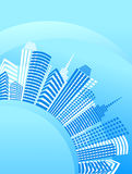 Blue circle city with office buildings. Vector background with a  downtown Royalty Free Stock Image