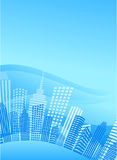 Blue circle city with office buildings. High modern skyscrapers on a blue background - Vector Stock Images