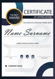 Blue circle Elegance vertical certificate with Vector illustration ,white frame certificate template with clean and modern pattern. Presentation Stock Photos
