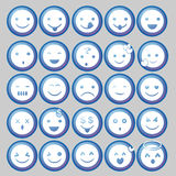 Blue Circle-Emoticon-Vektoren Stockbild