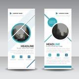 Blue Circle enroulent la conception de bannière d'insecte de brochure d'affaires, fond géométrique d'abrégé sur présentation de c illustration libre de droits