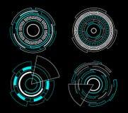 Blue circle futuristic interface hud set vector technology design. Blue circle futuristic interface hud set vector technology abstract design vector illustration