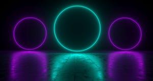 Blue Circle Gestalte gegeven Neonlichten met Bezinningen over de Vloer 3d Stock Afbeelding