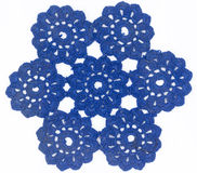 Blue Circle Lace. In White background stock photography
