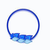 Blue Circle with Leaves on Bottom Royalty Free Stock Photo