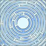 Blue circle maze Royalty Free Stock Photography