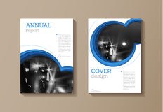Blue Circle modern cover Brochure template, design, annual repor Stock Photo