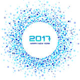Blue Circle New Year 2017 confetti frame on white Background. Royalty Free Stock Images