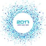 Blue Circle nowego roku 2017 confetti rama na białym tle Obrazy Royalty Free