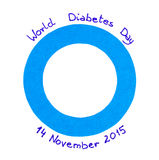 Blue circle of paper on white background, symbol of world diabetes day Stock Images