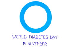 Blue circle of paper on white background, symbol of world diabetes day Royalty Free Stock Images