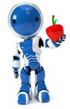 Blue circle robot holding apple Royalty Free Stock Photo