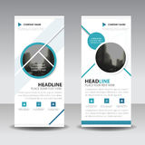 Blue circle roll up business brochure flyer banner design , cover presentation abstract geometric background, modern publication. X-banner and flag-banner Royalty Free Stock Photo