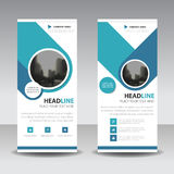 Blue circle roll up business brochure flyer banner design , cover presentation abstract geometric background, modern publication. X-banner and flag-banner Stock Images