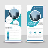 Blue Circle rullar upp designen för banret för affärsbroschyrreklambladet, geometrisk bakgrund för räkningspresentationsabstrakt  Arkivfoton