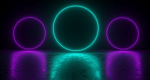 Blue Circle Shaped Neon Lights With Reflections On The Floor. 3D. Rendering  Illustration Stock Image