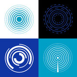 Blue circle signal waves. Generate sound or radar vector radio signals Royalty Free Stock Photography