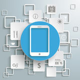 Blue Circle Smartphone White Rectangles Infographi. Smartphone with rectangles on the grey background. Eps 10  file Stock Images