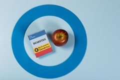 Blue circle with some Diabetes equipment do treatment the disease. stock image
