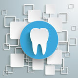 Blue Circle Tooth White Rectangles Infographic PiA. Tooth with rectangles on the grey background. Eps 10  file Royalty Free Stock Photos