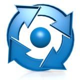 Blue Circle traccia una carta di con 4 frecce Fotografia Stock Libera da Diritti