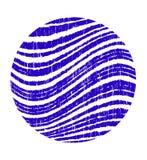 Blue circle with wavy stripes grunge. Vector design element stock illustration