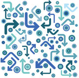 Blue and circles. The blue circles and arrows Royalty Free Stock Images