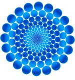 Blue circles. Blue decreasing to the centre circles. Isolated over white Royalty Free Stock Image