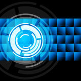 Blue Circles Background Shows Records And Gramophone Stock Photo