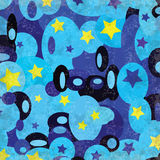 Blue circles and stars grunge effect vector illustration Royalty Free Stock Images