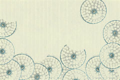 Blue circles on white ribbed paper Royalty Free Stock Images