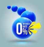 Blue circles zero percent banner. Royalty Free Stock Image