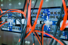 Blue circuit board. Closeup of two blue circuit boards, with red and black wires attached Stock Photography